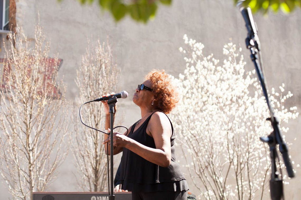 Photo: Jazz vocalist Jeannie Brooks performs at the Roxborough Pocket Park during the 2016 Art Is Life street festival
