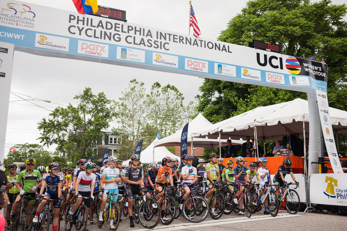 Photo: Start/finish line of the 2016 International Cycling Classic on Lyceum Avenue in Roxborough