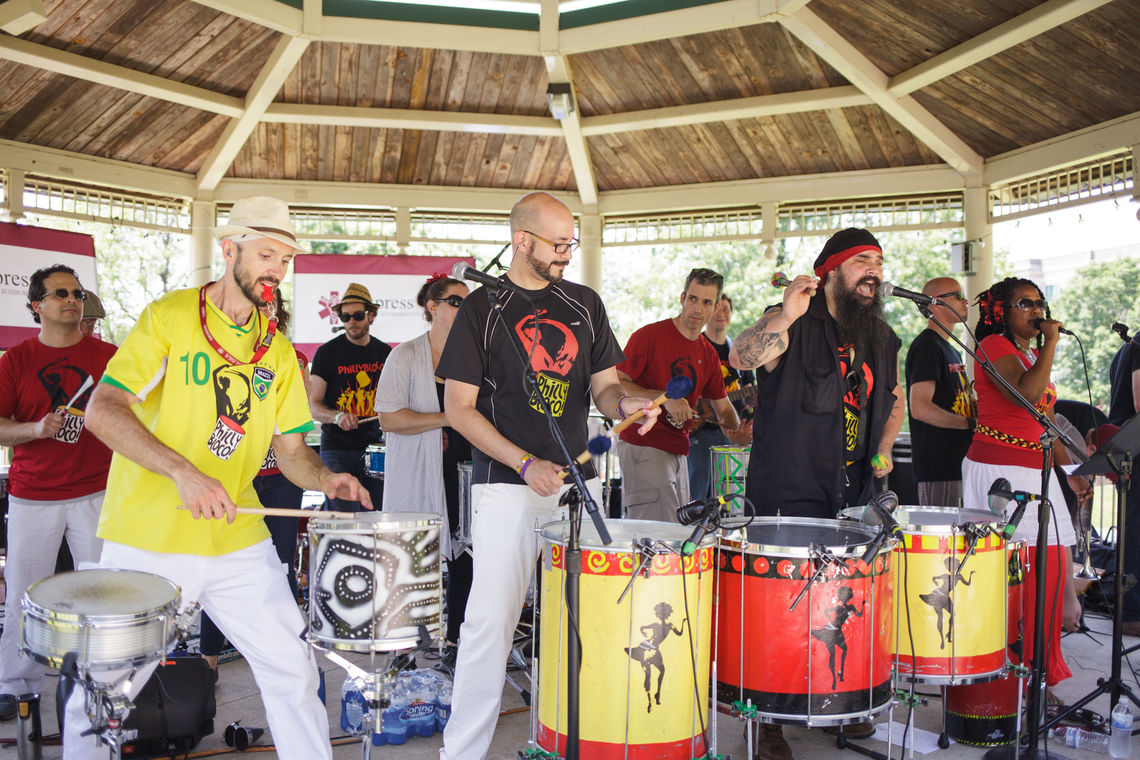 Photo: Philly Bloco performs at the Gorgas Park Gazebo during the 2016 Roxborough Solstice Music Festival