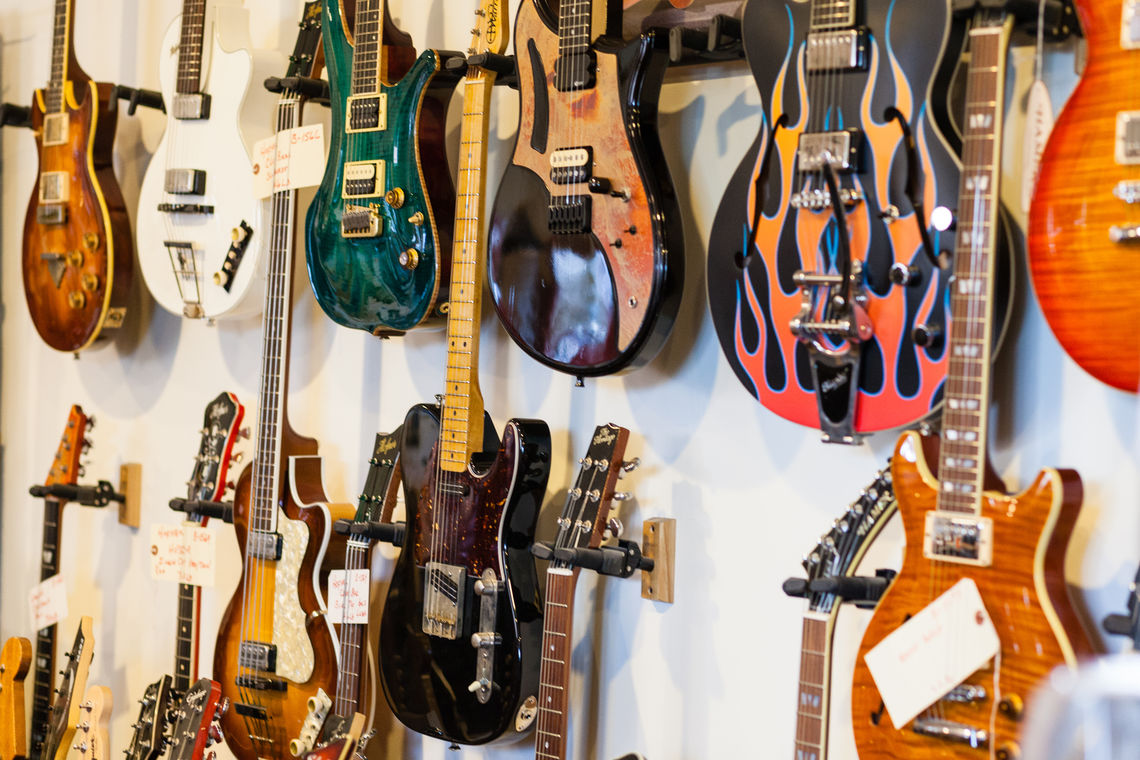 Photo: Collection of electric guitars at Roxy Guitar