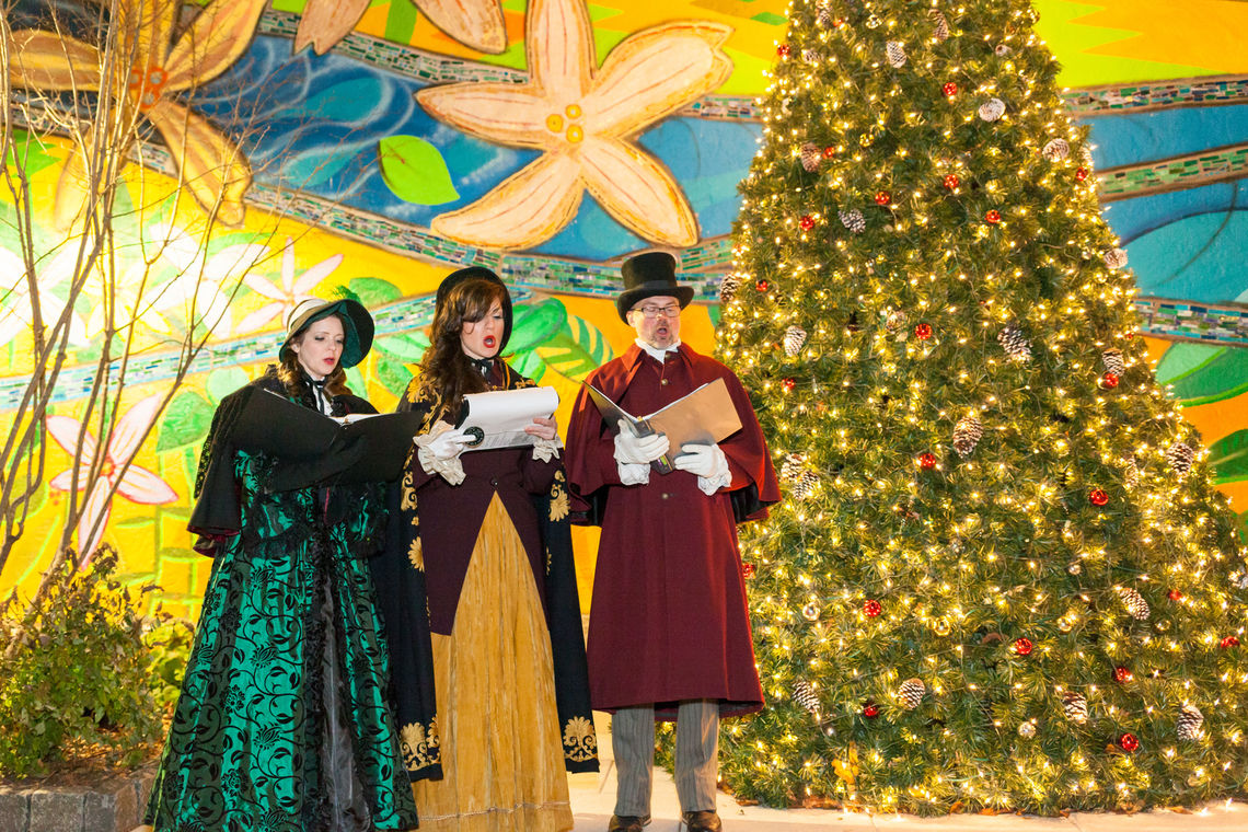 Photo: Carolers perform at the inaugural holiday tree lighting ceremony at the Roxborough Pocket Park