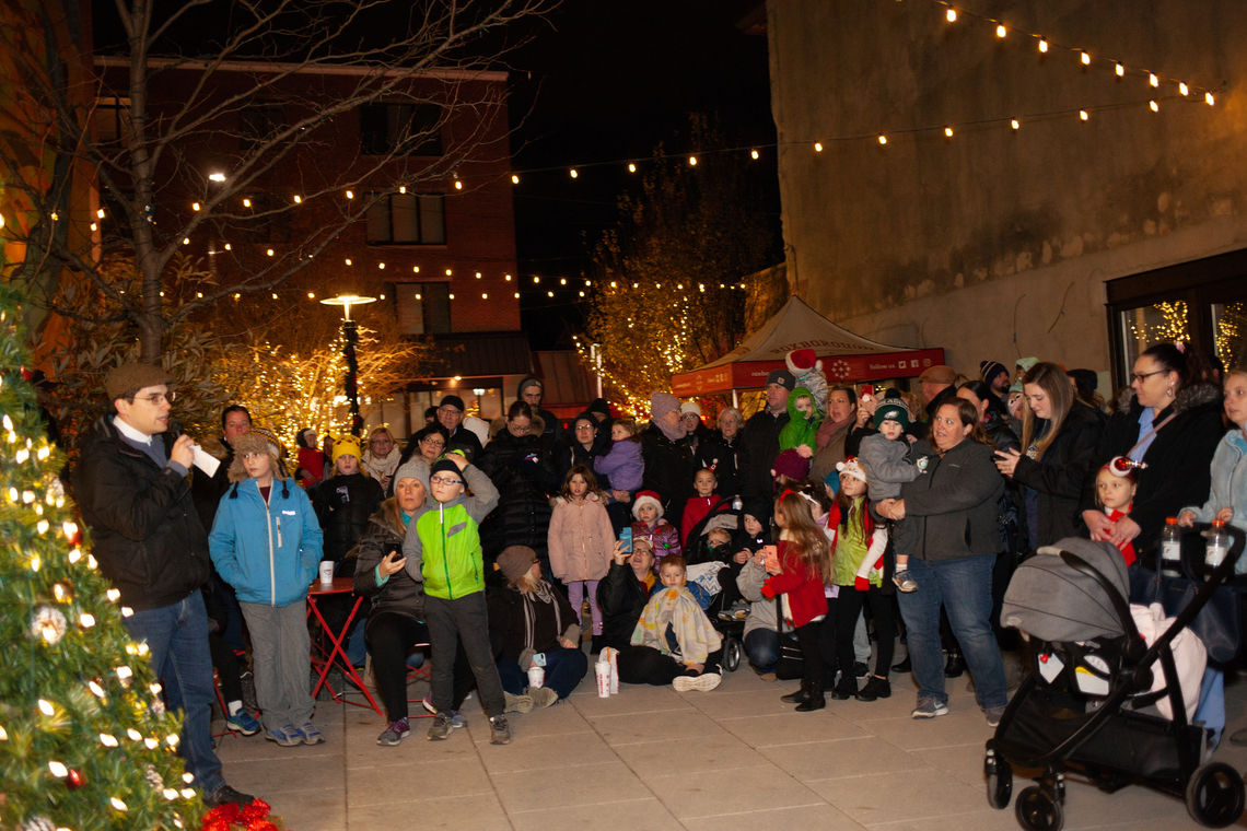 Photo: Record breaking crowds countdown to light Roxborough's holiday tree as part of the 2nd annual tree lighting at the Roxborough Pocket Park